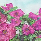 Mice in the Petunias (mixed media) by Niki Hilsabeck