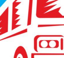 Tourist Coach Shuttle Bus Circle Retro Sticker