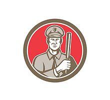 Policeman With Night Stick Baton Circle Retro by patrimonio