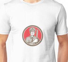 Policeman With Night Stick Baton Circle Retro Unisex T-Shirt