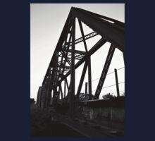 Rail Road Bridge Richmond Texas BW Kids Tee