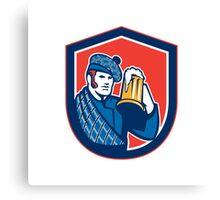 Scotsman Beer Drinker Mug Shield Retro Canvas Print