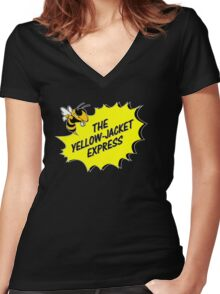 The Yellow Jacket Express - left Women's Fitted V-Neck T-Shirt