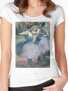 Edgar Degas - Dancers In Violet Women's Fitted Scoop T-Shirt
