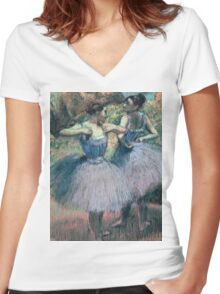 Edgar Degas - Dancers In Violet Women's Fitted V-Neck T-Shirt