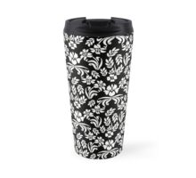Black and White Floral Damask Travel Mug