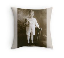 Little Boy Child with Teddy Bear Throw Pillow