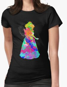 Princess Peach Paint Splatter White Womens Fitted T-Shirt
