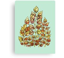 Hand drawn watercolor  golden leaves Canvas Print