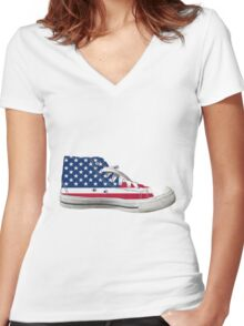 Hi Top Basketball Shoe United States Women's Fitted V-Neck T-Shirt
