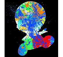 Toad Paint Splatter White Photographic Print