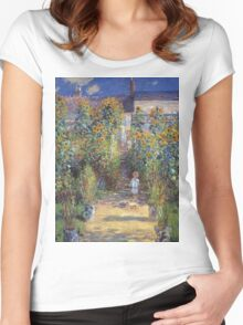 Claude Monet - The Artist S Garden At Vetheuil 1881 Women's Fitted Scoop T-Shirt