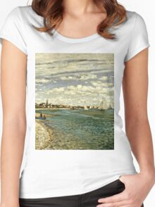 Claude Monet - Regatta At Sainte-Adresse 1867  Women's Fitted Scoop T-Shirt