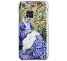 Claude Monet - Camille Monet And A Child In The Artists Garden In Argenteuil 1875  iPhone Case/Skin