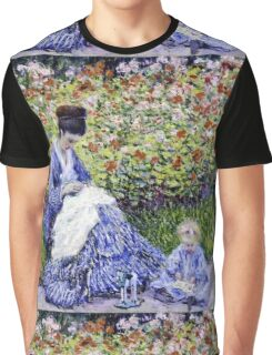 Claude Monet - Camille Monet And A Child In The Artists Garden In Argenteuil 1875  Graphic T-Shirt