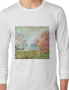 Claude Monet - The Boat Studio On The Seine 1875  Long Sleeve T-Shirt