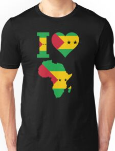 I love Sao Tome flag Africa map t-shirt Unisex T-Shirt