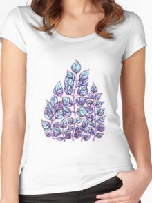 Rose Quartz and Serenity hand drawn and watercolor leaves  Women's Fitted Scoop T-Shirt