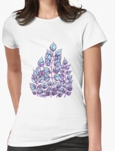 Rose Quartz and Serenity hand drawn and watercolor leaves  Womens Fitted T-Shirt