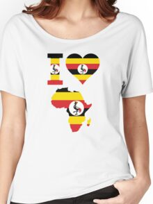I love Uganda flag Africa map t-shirt Women's Relaxed Fit T-Shirt
