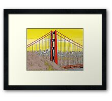Golden Gate Bridge Cartoon Framed Print