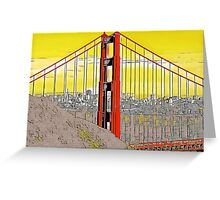 Golden Gate Bridge Cartoon Greeting Card