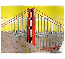 Golden Gate Bridge Cartoon Poster