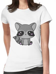 Cute Raccoon Womens Fitted T-Shirt