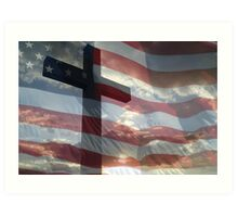 AMERICAN FLAG AND CROSS Art Print