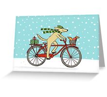 Cycling Dog and Squirrel Holiday Greeting Card