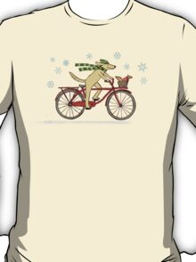 Cycling Dog and Squirrel Holiday T-Shirt
