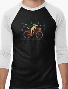 Cycling Dog and Squirrel Holiday Men's Baseball ¾ T-Shirt