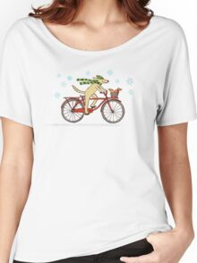 Cycling Dog and Squirrel Holiday Women's Relaxed Fit T-Shirt