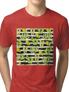 cactuses on black watercolor stripes Tri-blend T-Shirt
