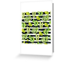 cactuses on black watercolor stripes Greeting Card