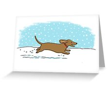 Snow Dachshund Holiday Greeting Card