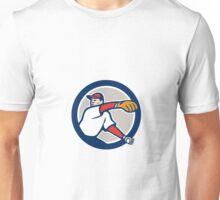 Baseball Pitcher Throw Ball Circle Cartoon Unisex T-Shirt