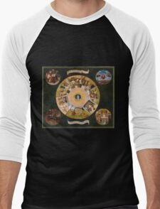 Hieronymus Bosch - The Seven Deadly Sins And The Four Last Things 1485 Men's Baseball ¾ T-Shirt