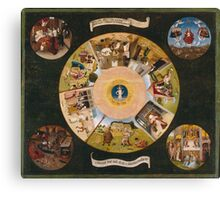 Hieronymus Bosch - The Seven Deadly Sins And The Four Last Things 1485 Canvas Print
