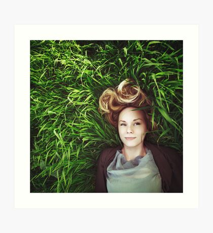 Beautiful young meditative woman in the grass Art Print