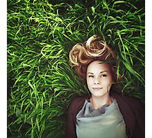 Beautiful young meditative woman in the grass Photographic Print