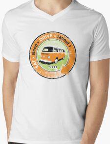 Eat Sleep Drive Repeat orange green grunge Mens V-Neck T-Shirt