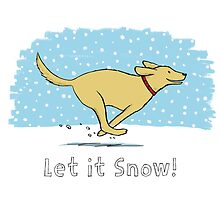 Snow Dog Holiday - Yellow Lab by Jenn Inashvili