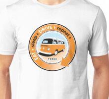 Eat Sleep Drive Repeat orange blue fan Unisex T-Shirt