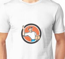 Delivery Man Okay Sign Parcel Circle Cartoon Unisex T-Shirt