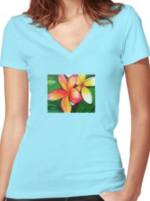 Frangipani Women's Fitted V-Neck T-Shirt