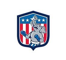 Republican Elephant Boxer Mascot Shield Cartoon Photographic Print
