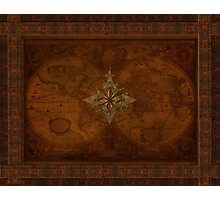 Steampunk Compass Rose & Antique Map Photographic Print