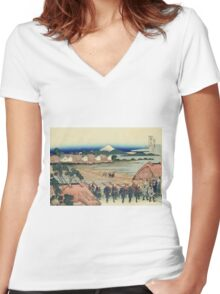 Hokusai Katsushika - Nakahara in Sagami Province Women's Fitted V-Neck T-Shirt