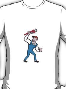 Plumber Holding Monkey Wrench Cartoon T-Shirt